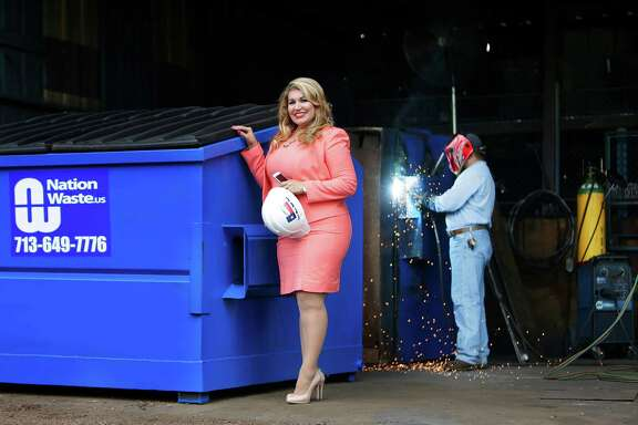 Maria Rios, president and CEO of Nation Waste, Inc., has continued to grow her waste services company business from its base in north Houston, Tuesday, May 24, 2016, in Houston. ( Mark Mulligan / Houston Chronicle )