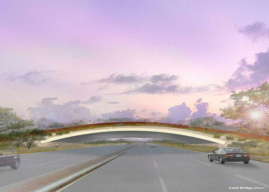 An undated rendering by Stephen Stimson Associates Landscape Architects shows what the Phil Hardberger Park Conservancy envisions as a bridge across Wurzbach Parkway to connect both sides of Hardberger Park. The bridge would quickly become a landmark. Photo: COURTESY /COURTESY / COURTESY Phil Hardberger Park Conservancy