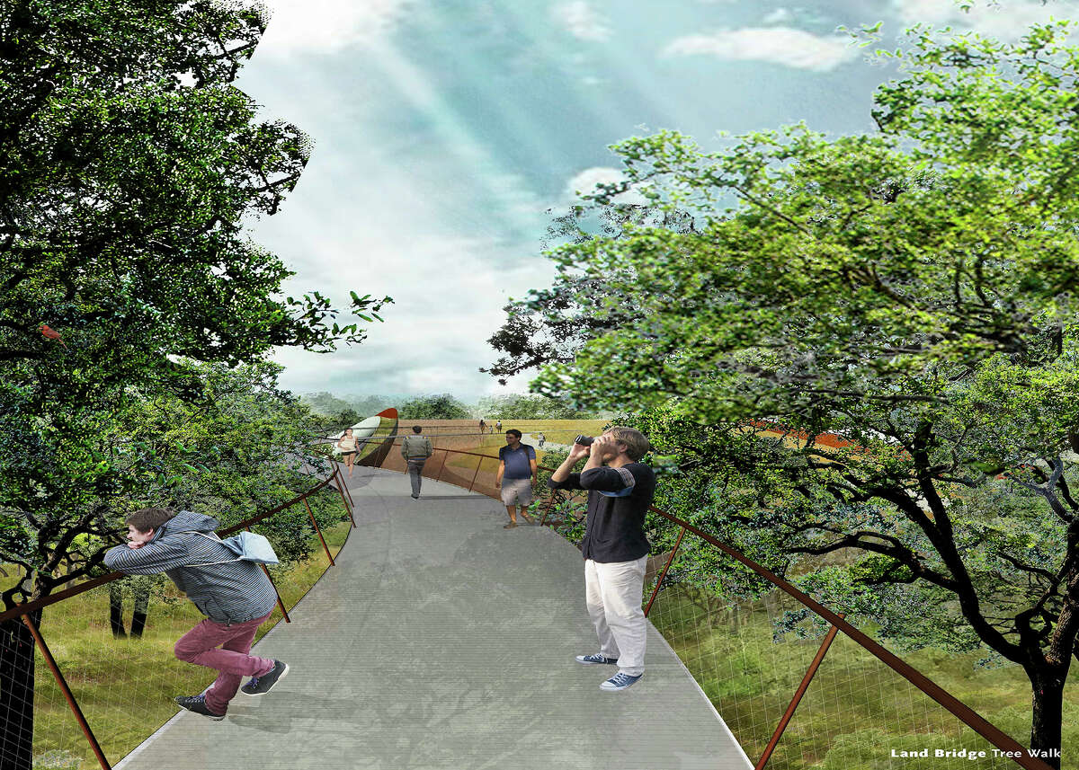 The success of Hardberger Park is used to undercut the vision for the land bridge - the park is wildly popular, so it's good enough as is. When really, the park's popularity should be a selling point for fulfillng the vision of the world-class span (as seen in this rendering).