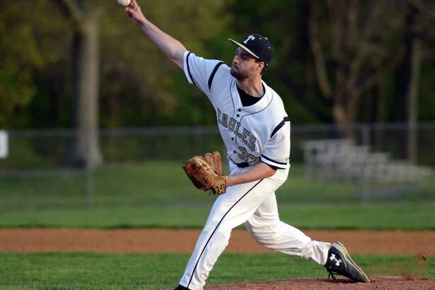 Trumbull's Andrew Lojko pitches against Stamford during baseball action in Trumbull, Conn., on Thursday May 12, 2016.