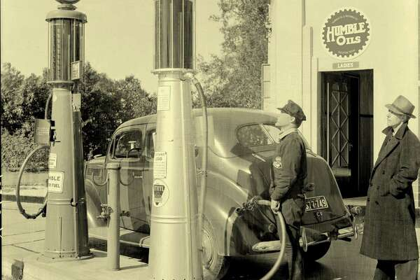 Humble and Esso brand gasoline were available at a Houston Humble station in 1937.