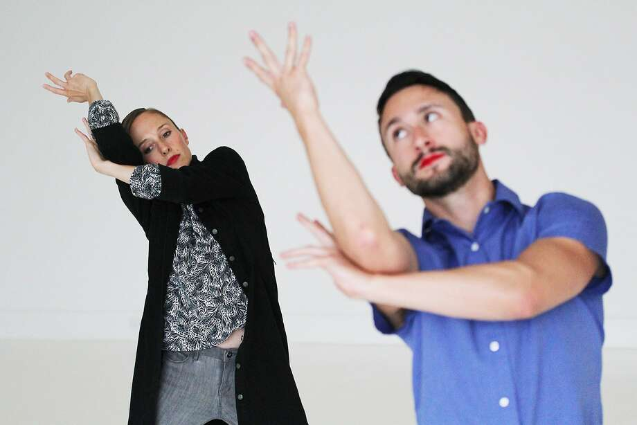 """Katie Faulkner and Chad Dawson of Little Seismic Dance Company in Faulkner's """"Coat of Arms,"""" on the program at CounterPulse through Saturday. Photo: Tony Campbell"""
