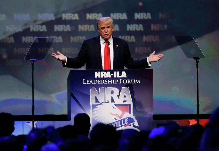 Republican presidential candidate Donald Trump speaks at the NRA Leadership Forum on Friday, in Louisville, Ky.
