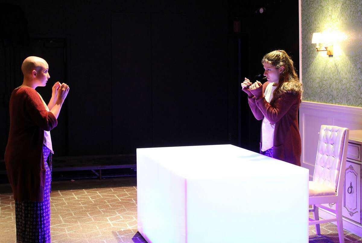 Agnes/Indra's daughter (l. Ponder Goddard) sees her doppelg�nger (r. Kirsten Peacock) in the dream world on earth. Photo by Rob Melrose