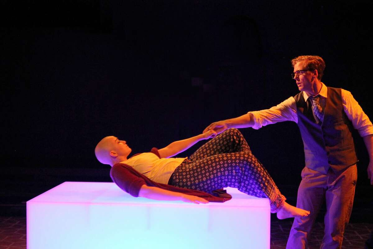 Agnes/Indra's daughter (Ponder Goddard) is urged by her husband The Lawyer (Carl Holvick) to live. Photo by Rob Melrose