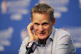 OKLAHOMA CITY, OK - MAY 24:  Head coach Steve Kerr of the Golden State Warriors speaks to the media prior to game four of the Western Conference Finals against the Oklahoma City Thunder during the 2016 NBA Playoffs at Chesapeake Energy Arena on May 24, 2016 in Oklahoma City, Oklahoma. NOTE TO USER: User expressly acknowledges and agrees that, by downloading and or using this photograph, User is consenting to the terms and conditions of the Getty Images License Agreement.  (Photo by Ronald Martinez/Getty Images)