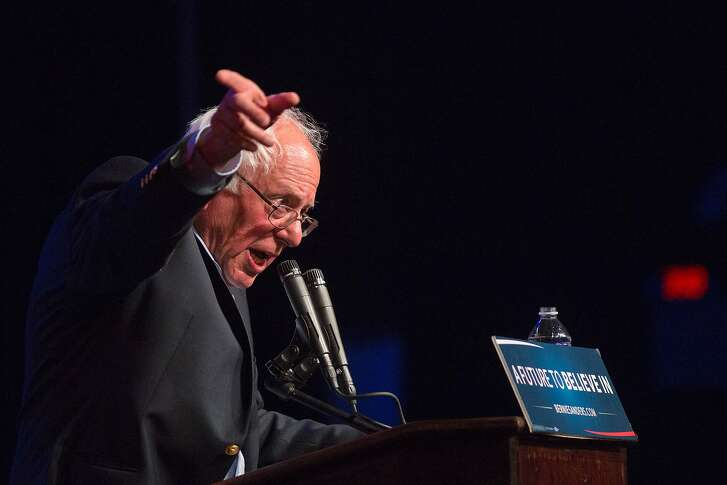 Democratic presidential candidate Bernie Sanders addresses a campaign rally at the Riverside Municipal Auditorium on May 24, 2016 in Riverside, California.  US presidential candidates have turned their attention to campaigning in earnest for the June 7th California primary election. / AFP PHOTO / DAVID MCNEWDAVID MCNEW/AFP/Getty Images