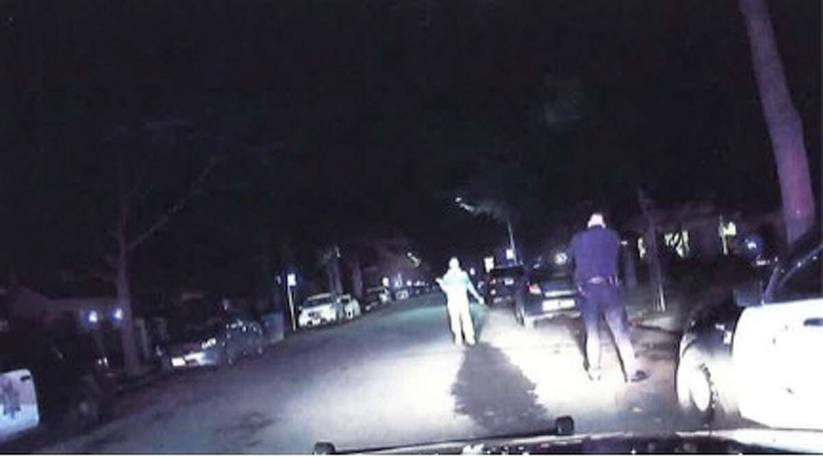 Officer Nicolas Enberg raises his gun at 31-year-old Palo Alto resident William David Raff during a fatal officer-involved shooting on December 25, 2015. Santa Clara County District Attorney's Office concluded Enberg and Officer Zachary Wicht lawfully shot and killed Raff.