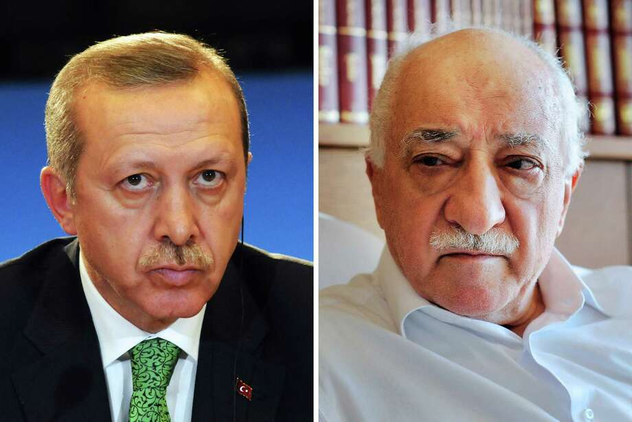 """(FILES) This combination of a file picture and a handout file picture made on March 28, 2014 shows Turkey's Prime Minister Recep Tayyip Erdogan (L) giving a press conference in Brussels on January 21, 2014, and a handout picture released by Zaman Daily showing exiled Turkish Muslim preacher Fethullah Gulen (R) at his residence on September 24, 2013 in Saylorsburg, Pennsylvania.  Turkish police on April 18, 2016 detained at least 105 people, including top construction executives, in a new crackdown on supporters of President Recep Tayyip Erdogan's arch foe, the US-based preacher Fethullah Gulen. Those detained are accused of providing financing for Gulen, who the Turkish government accuses of running a """"terror organisation"""" seeking to overthrow his former ally Erdogan. Turkish prosecutors have issued arrest warrants for 140 people and 105 people have been detained so far, the state-run Anatolia news agency reported. / AFP PHOTO / THIERRY CHARLIER AND SELAHATTIN SEVI / RESTRICTED TO EDITORIAL USE - MANDATORY CREDIT """"AFP PHOTO / THIERRY CHARLIER / ZAMAN DAILY / SELAHATTIN SEVI """" - NO MARKETING NO ADVERTISING CAMPAIGNS - DISTRIBUTED AS A SERVICE TO CLIENTS - NO ARCHIVETHIERRY CHARLIER,SELAHATTIN SEVI/AFP/Getty Images Photo: THIERRY CHARLIER, Stringer / AFP"""