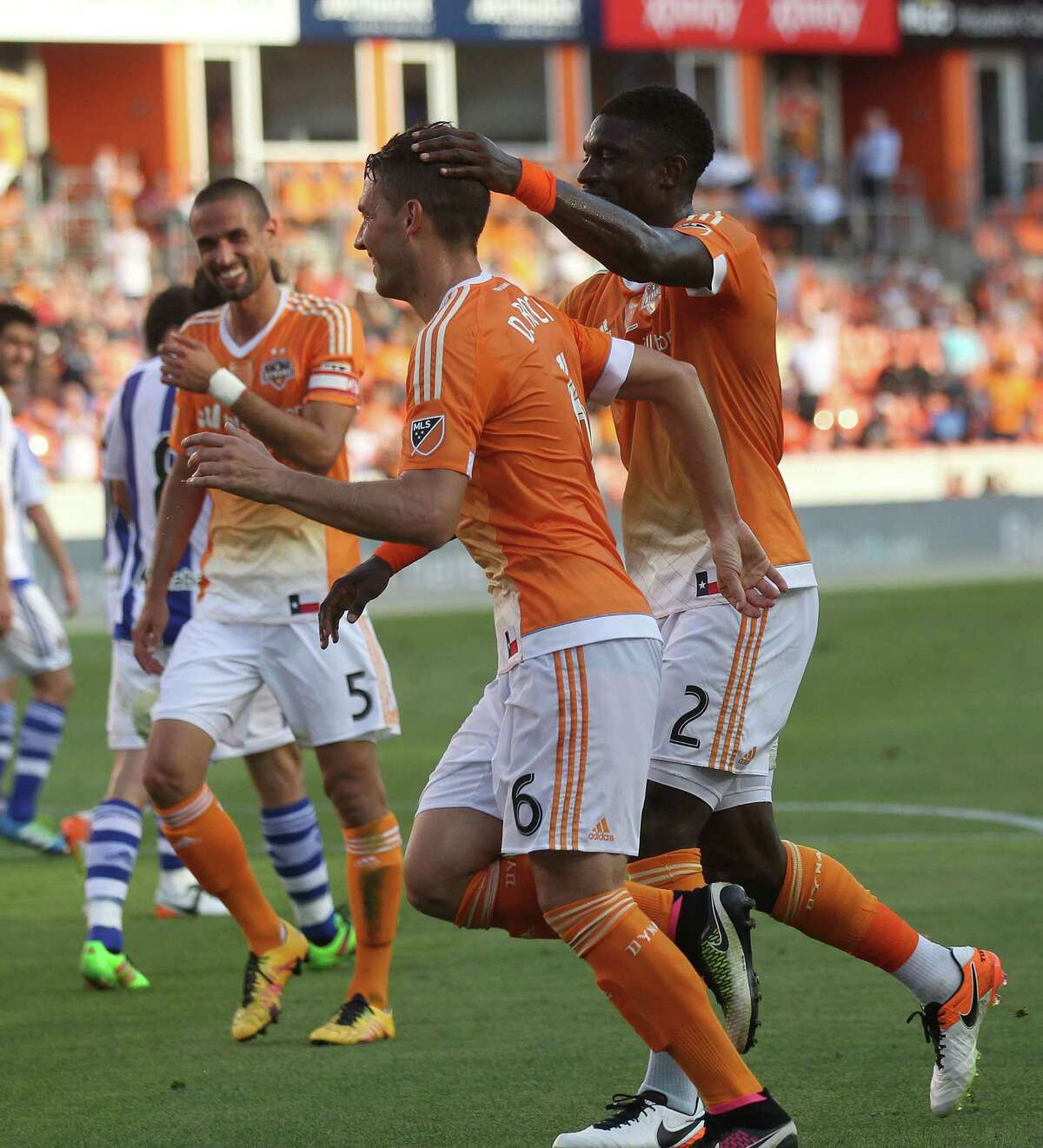 Houston Dynamo midfielder David Rocha (6) celebrates his first half gaol against Real Sociedad in the Charities Cup on Tuesday, May 24, 2016, in Houston.