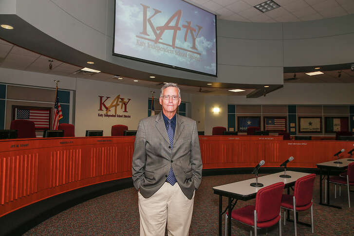 Conservative blogger and newest Katy ISD school board member George Scott stands in the School Board room of the Katy ISD Education Complex after winning a narrow race for Katy ISD Trustee beating out 27 year incumbent Joe Adams by three votes, Scott had 1475 votes to Adamsé• 1472.