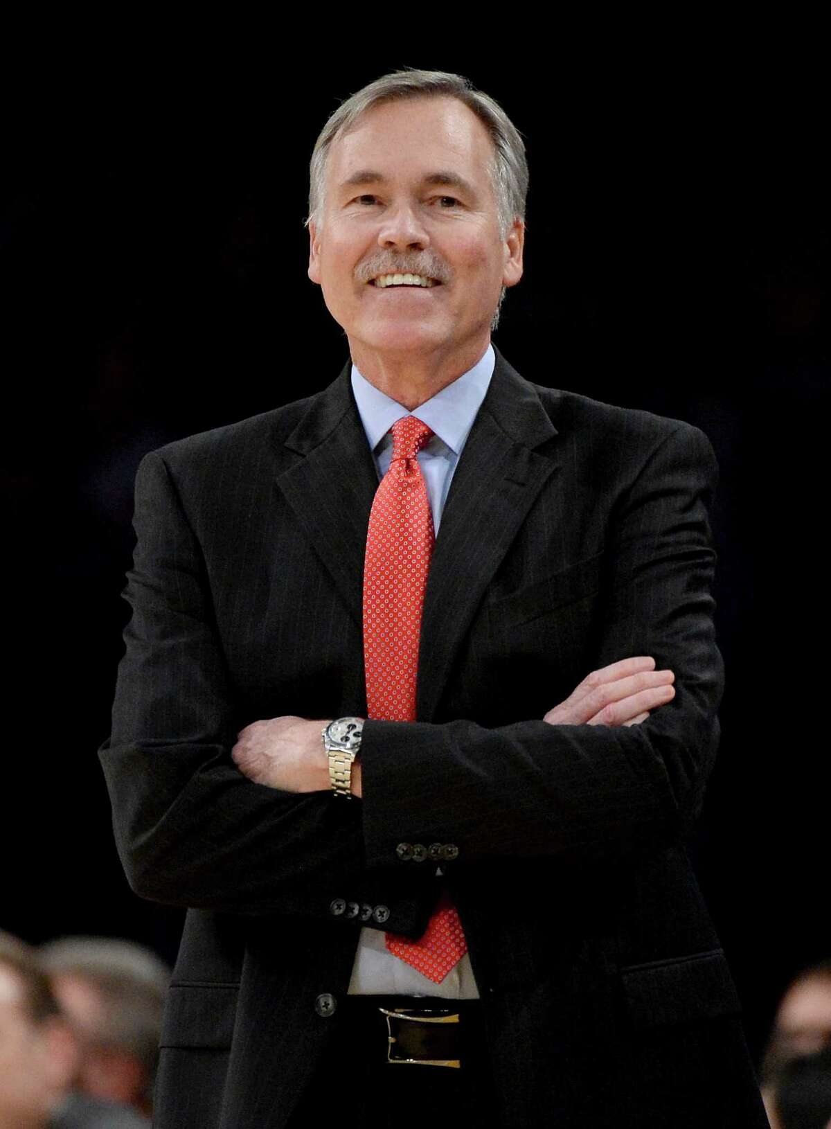 LOS ANGELES, CA - DECEMBER 08: Mike D'Antoni of the Los Angeles Lakers reacts to a call during the game against the Toronto Raptors at Staples Center on December 8, 2013 in Los Angeles, California. NOTE TO USER: User expressly acknowledges and agrees that, by downloading and or using this Photograph, user is consenting to the terms and condition of the Getty Images License Agreement. (Photo by Harry How/Getty Images)