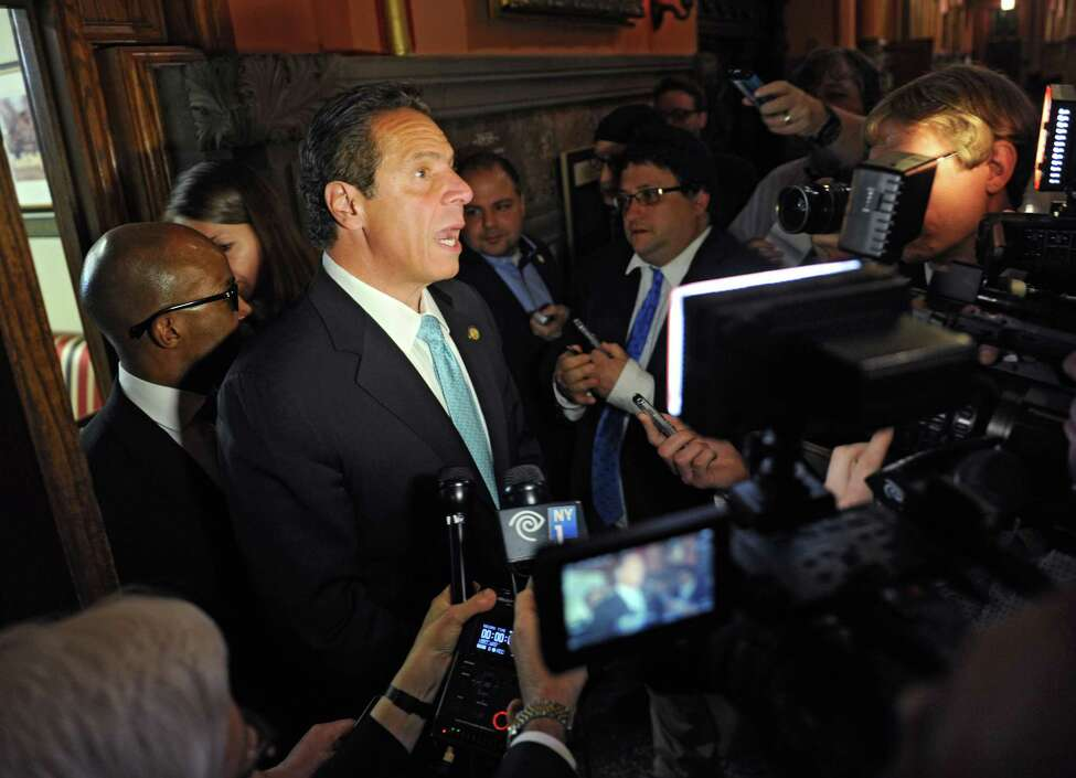 New York State Governor Andrew Cuomo talks to the press outside his office about different issues on Tuesday, May 24, 2016 in Albany, N.Y. (Lori Van Buren / Times Union)