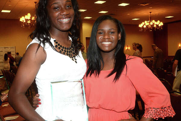 Eranishia Carmenar and Samiya Bolton were at the SuperGold 2016 Spring Sports Banquet Tuesday night at the MCM Elegante Hotel in Beaumont. The annual event, sponsored by Howell Furniture Co. and the Beaumont Enterprise, honors area girl and boy athletes who excelled in their spring sports seasons. Photo taken Tuesday, May 24, 2016 Kim Brent/The Enterprise