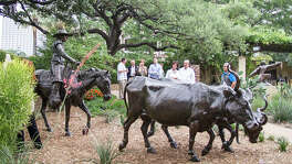 "The Briscoe Western Art Museum unveils its newest outdoor sculpture, Enrique Guerra's ""El Caporal."""