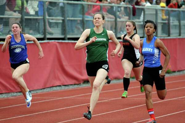 Shenendehowa's Alexandra Tudor wins the girl's 100 during the Section II Group 1 track and field championships on Tuesday May 24, 2016 in Guilderland, N.Y. (Michael P. Farrell/Times Union)