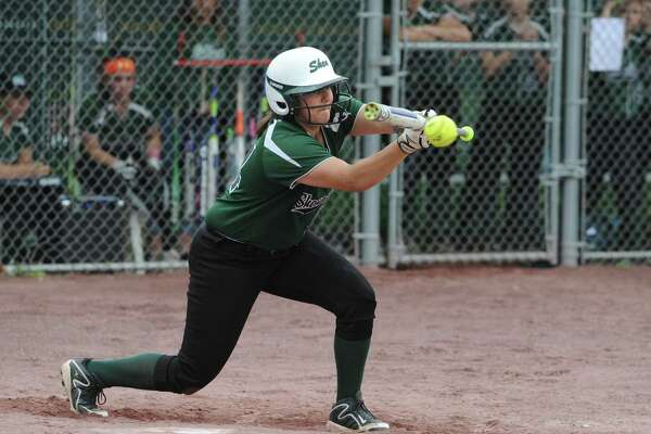 Shenendehowa's Cailey Cuttita bunts the ball during a class AA semifinal softball game against Columbia on Tuesday, May 24, 2016 in Malta, N.Y. (Lori Van Buren / Times Union)