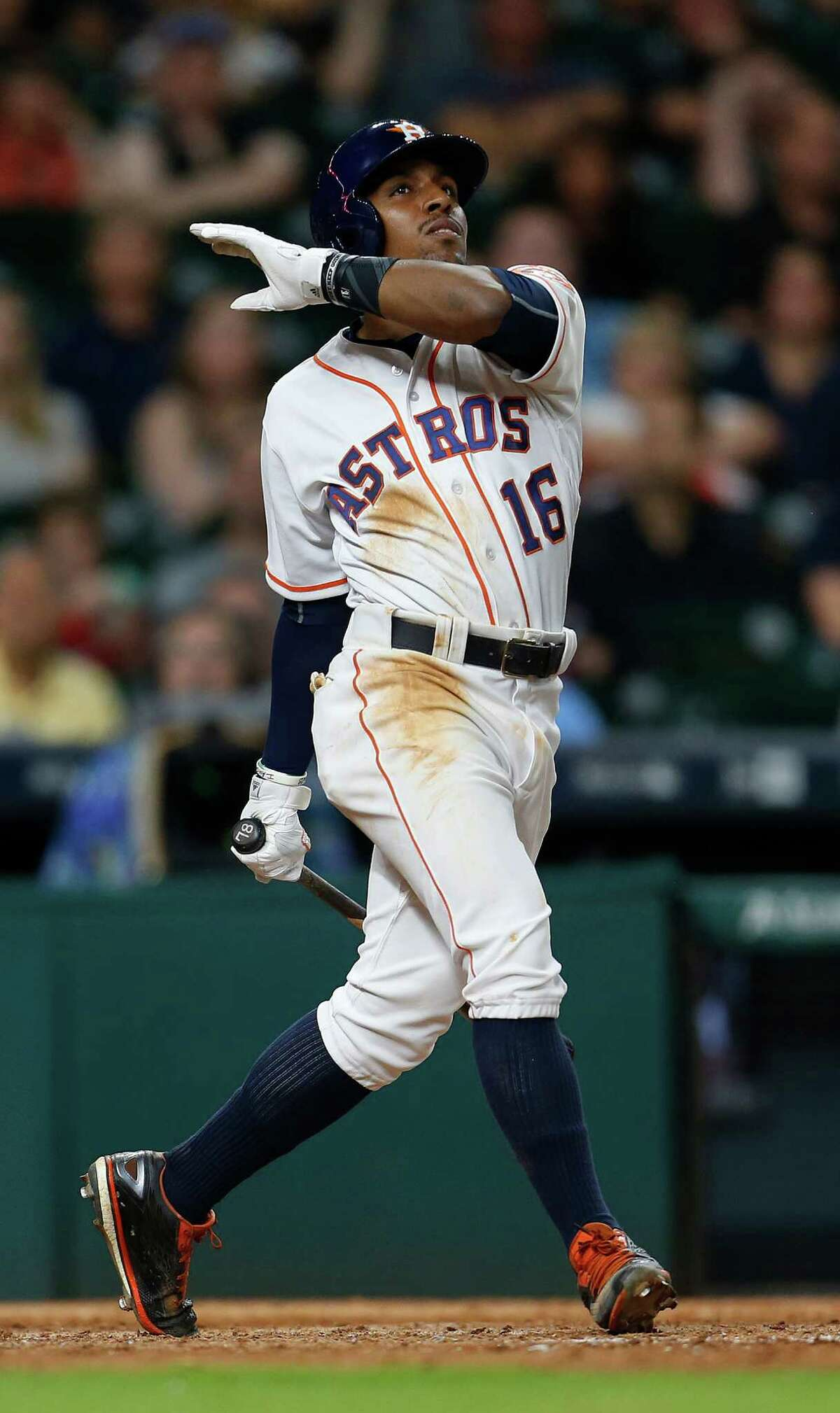 Houston Astros left fielder Tony Kemp (16) strikes out during the tenth inning of an MLB baseball game at Minute Maid Park, Tuesday, May 24, 2016.