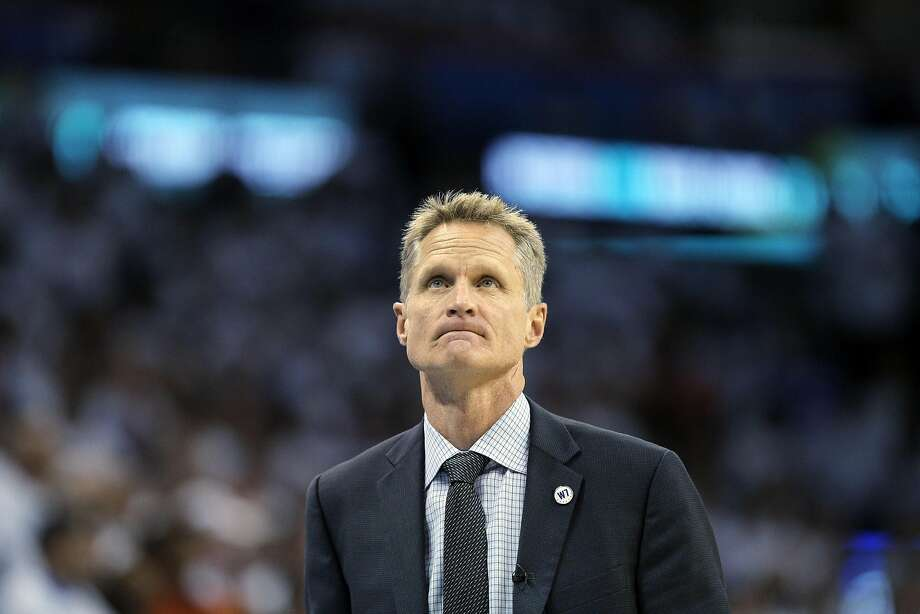 Steve Kerr looks up at the crowd in the second half as the Golden State Warriors played the Oklahoma City Thunder in Game 4 of the Western Conference Finals at Chesapeake Energy Arena in Oklahoma City, Okla., on Tuesday, May 24, 2016. The Thunder defeated the Warriors 118-94, to take a 3 games to 1 lead. Photo: Carlos Avila Gonzalez, The Chronicle