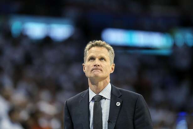 Steve Kerr looks up at the crowd in the second half as the Golden State Warriors played the Oklahoma City Thunder in Game 4 of the Western Conference Finals at Chesapeake Energy Arena in Oklahoma City, Okla., on Tuesday, May 24, 2016. The Thunder defeated the Warriors 118-94, to take a 3 games to 1 lead.