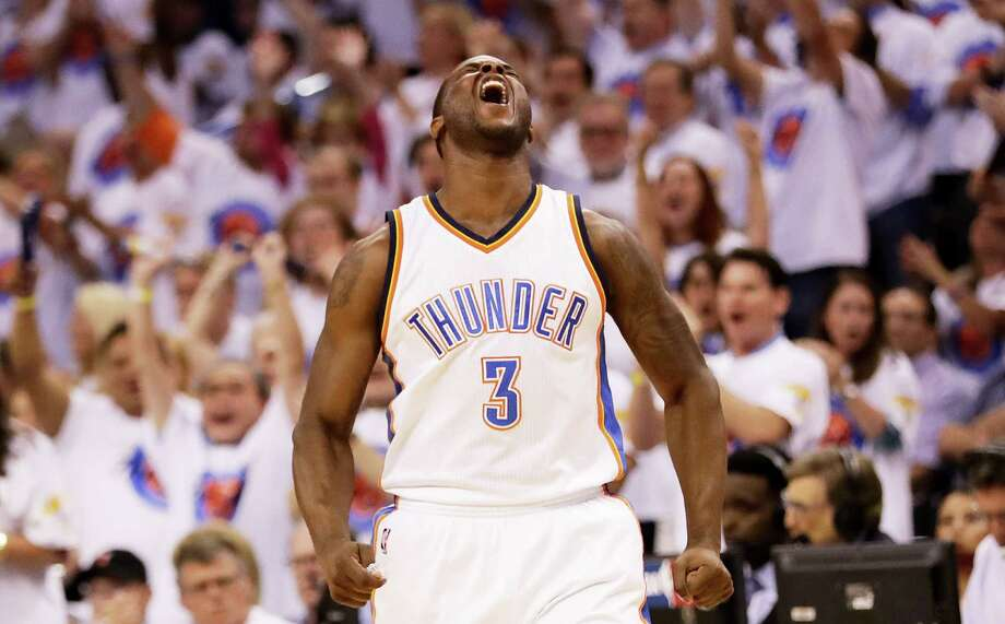 Dion Waiters demonstrates the state of euphoria the Thunder are enjoying after their third consecutive victory in the series. Photo: Ronald Martinez, Staff / 2016 Getty Images