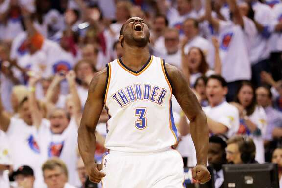 Dion Waiters demonstrates the state of euphoria the Thunder are enjoying after their third consecutive victory in the series.