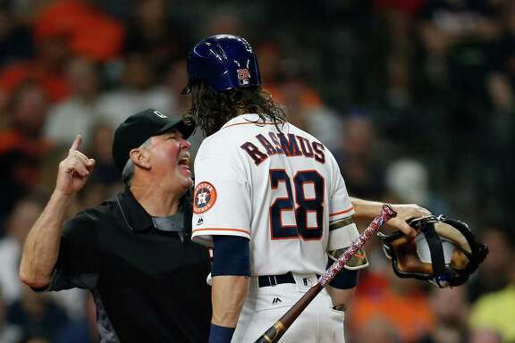 Home plate umpire Dana DeMuth ends Colby Rasmus' evening prematurely with a sixth-inning ejection Tuesday night after Rasmus questioned a strike call.  It turned out that Rasmus ended up playing less than half of the 13-inning game.
