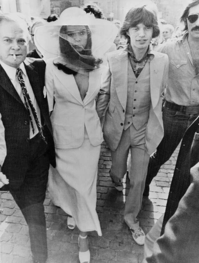 13th May 1971, British rock singer Mick Jagger and his new wife Bianca Jagger outside St Tropez Town Hall on their wedding day. Photo: Getty Images