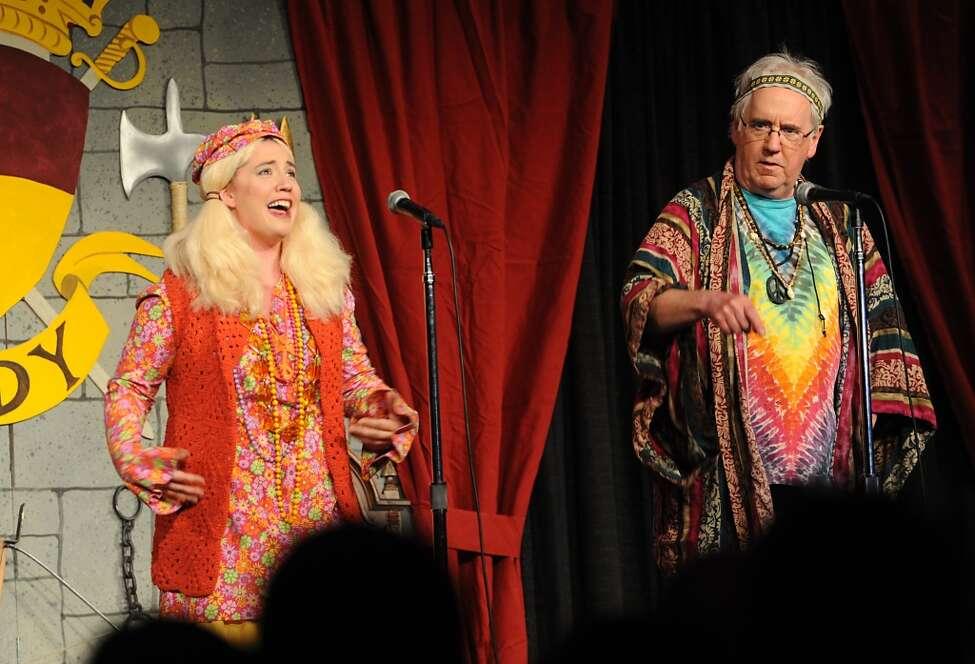 Alyssa Plock portrays Zephyr Teachout and Kyle Hughes portrays Bernie Sanders during rehearsal night for this year's Legislative Correspondents Association show