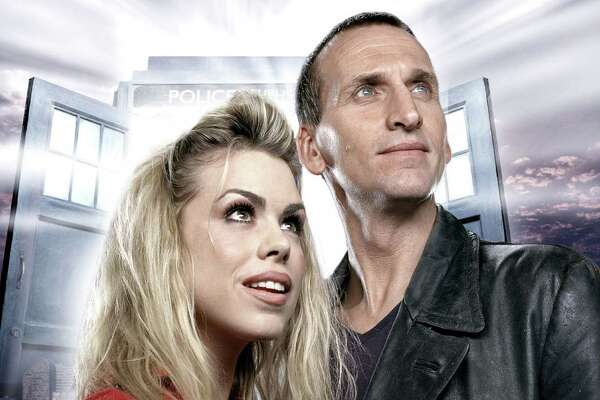"Billie Piper starred as Rose Tyler and Christopher Eccleston as the Ninth Doctor in ""Dr. Who."""