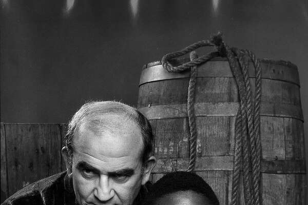 "Ed Asner and Levar Burton in a publicity still for ""Roots,"" 1977."
