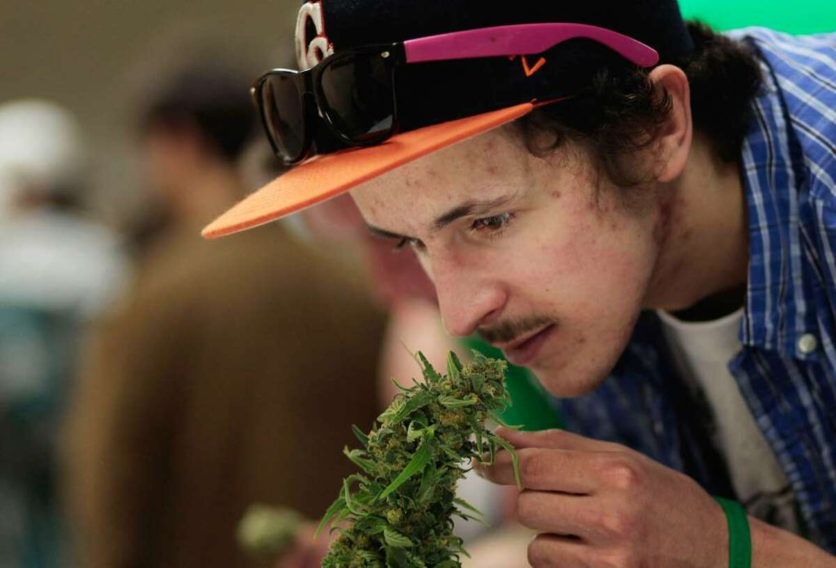 ASPEN, CO - APRIL 18: A man reaches down to smell a marijuana plant at the Cannabis Crown 2010 expo in Aspen, Colorado. Cannabis Crown 2010 is hosting hundreds of marijuana-industry vendors and thousands of marijuana users in two hotels in tony Aspen, as well as holding a hemp fashion show and a marijuana-quality judging. Colorado, one of 14 states to allow use of medical marijuana, has experienced an explosion in marijuana dispensaries, trade shows and related businesses in the last year as marijuana use becomes more mainstream. (Photo by Chris Hondros/Getty Images)