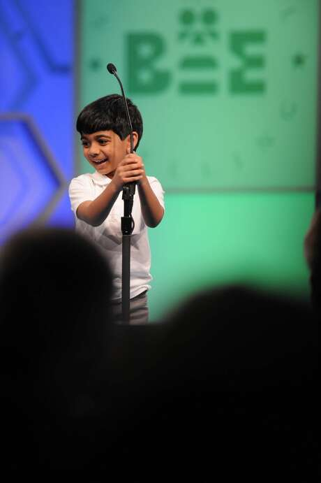 Akash Vukoti, 6, is the youngest contestant at the 2016 Scripps National Spelling Bee. The home-schooled first grader is from San Angelo, Texas. Photo: Mark Bowen / Scripps National Spelling Bee