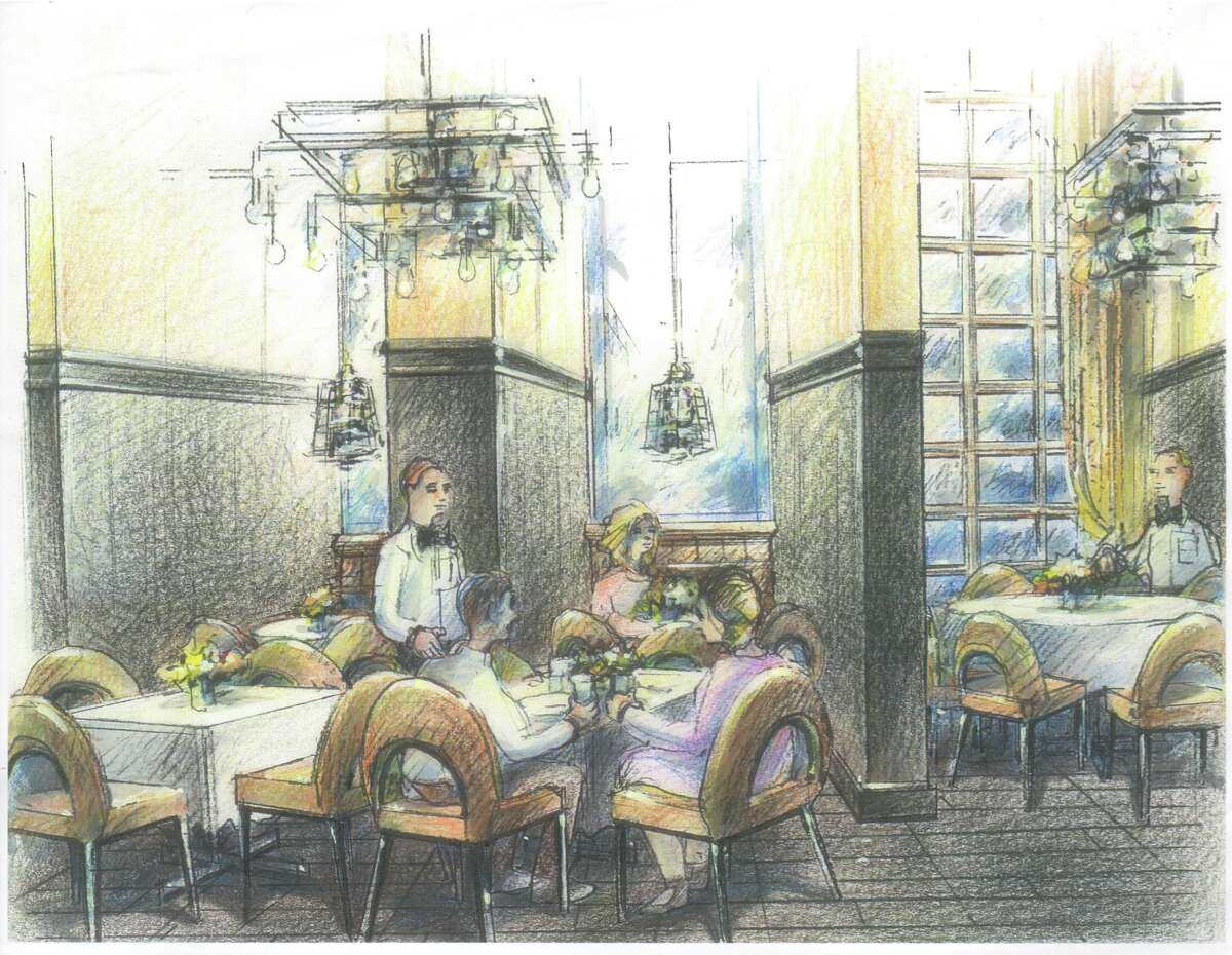 Rendering of Brasserie du Parc, a French brasserie planned for One Park Place in downtown Houston. The restaurant is expected to open fall 2016.