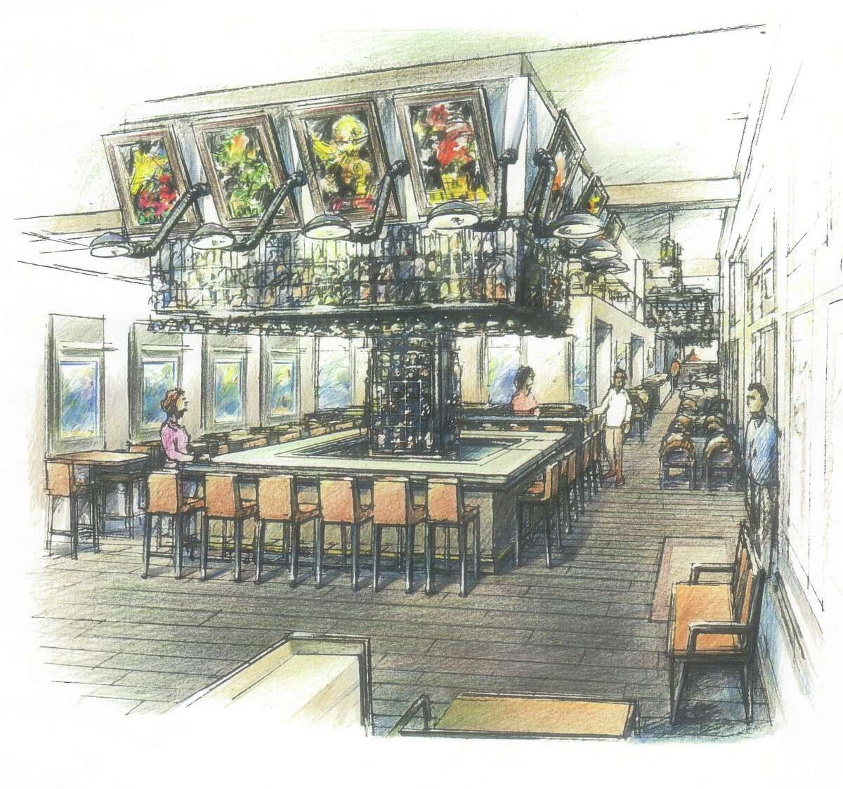 Rendering of bar in Brasserie du Parc, a French brasserie planned for One Park Place in downtown Houston. The restaurant is expected to open fall 2016.