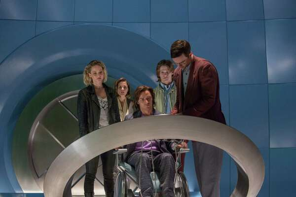 """In this image released by Twentieth Century Fox,  Jennifer Lawrence, from left, Rose Byrne, James McAvoy, Lucas Till and Nicholas Hoult appear in a scene from, """"X-Men: Apocalypse."""" (Alan Markfield/Twentieth Century Fox via AP) ORG XMIT: NYET116"""