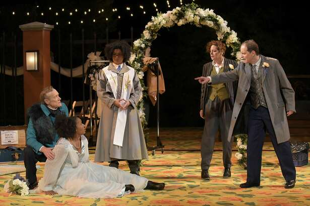 (L to R) James Carpenter as Beatrice, Safiya Fredericks as Hero, Rami Margron as the Friar,  Stacy Ross as Benedick, and Anthony Fusco as Leonato  in Cal Shakes� MUCH ADO ABOUT NOTHING, directed by Jackson Gay.  Photo by Alessandra Mello