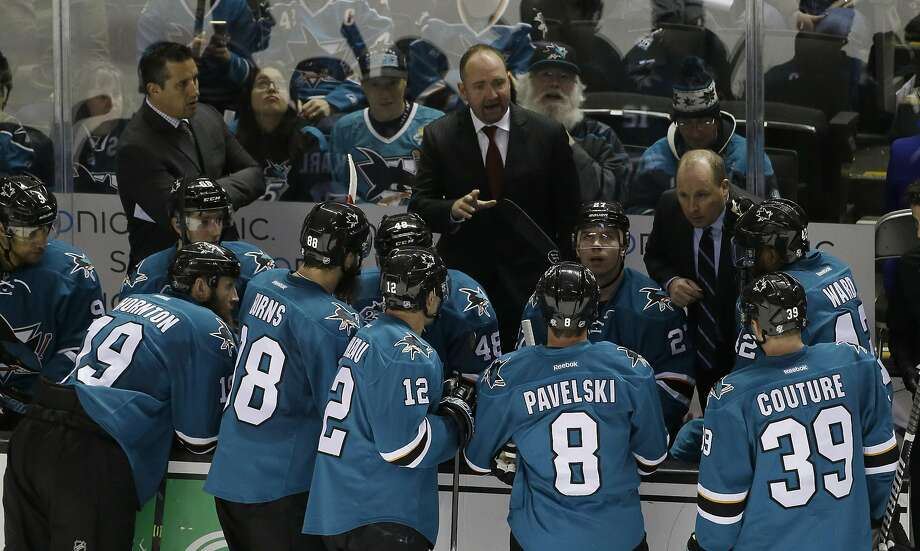 Coach Peter DeBoer and the Sharks are one win away from reaching the Stanley Cup Finals for the first time in San Jose history. Photo: Marcio Jose Sanchez, AP