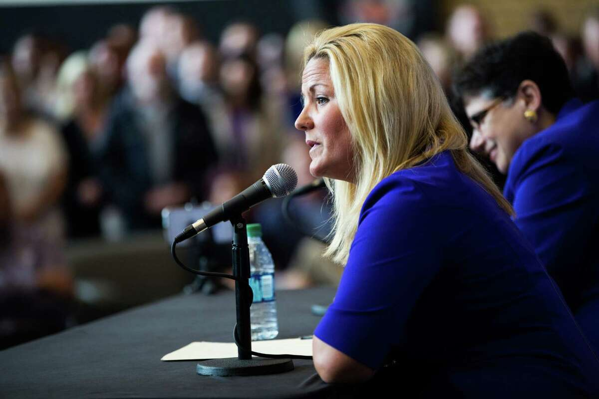 University of Washington's new athletic director Jennifer Cohen speaks at her introductory press conference with UW president Ana Mari Cauce during her introductory press conference at Husky Stadium, Wednesday, May 25,, 2016.