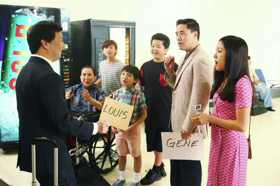 "Ken Jeong, from left, Lucille Soong, Forrest Wheeler, Ian Chen, Hudson Yang, Randall Park and Constance Wu appear in a scene from the season finale of ""Fresh Off The Boat.""  Photo: Michael Ansell, HONS / American Broadcasting Companies, Inc."