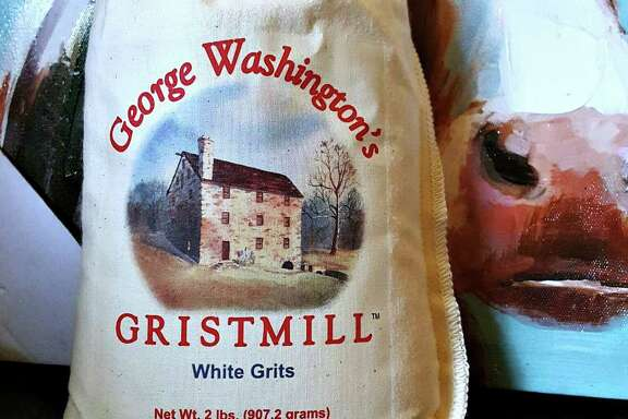 Products made and sold at George Washington's Gristmill at Mount Vernon include white and yellow grits and cornmeal, and pancake mix.