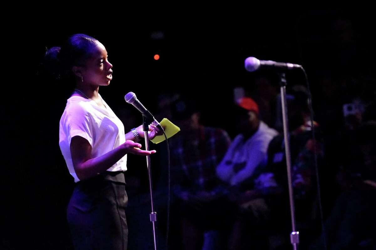 Nerria Howard, a senior at Schenectady High, talks about how young people perceive adults during a segment of Caring Adults during the Schenectady County Youth Summit on Wednesday, May 25, 2016, at Proctor's Theatre in Schenectady, N.Y. (Cindy Schultz / Times Union)