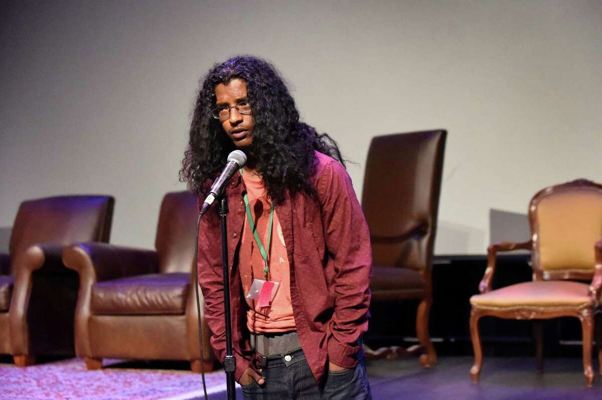 Kevin Rahmbose, a former student at Schenectady High, shares his story during a segment of Caring Adults during the Schenectady County Youth Summit on Wednesday, May 25, 2016, at Proctor's Theatre in Schenectady, N.Y. (Cindy Schultz / Times Union)