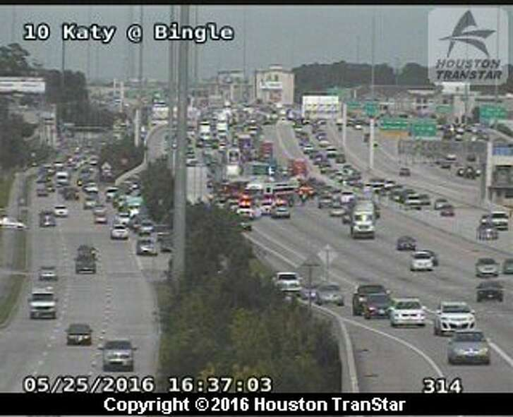 A four vehicle accident blocked all main lanes of the Katy Freeway at Bingle Road and Voss Wednesday afternoon, May 25, 2016.
