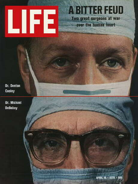 This Life Magazine cover from April 10, 1970, showed Dr's. Denton Cooley and Michael DeBakey.  Their feud, over the first artificial heart implant, was examined by Life magazine back in 1970. Photo: Time-Life / handout