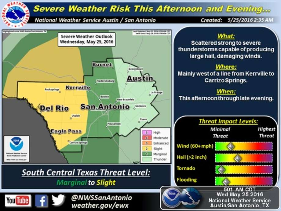 Heavy storms could hit San Antonio as early as Wednesday night, according to the National Weather Service. Photo: National Weather Service