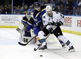 San Jose Sharks right wing Joonas Donskoi (27) controls the puck against St. Louis Blues defenseman Colton Parayko (55) during the third period in Game 5 of the NHL hockey Stanley Cup Western Conference finals, Monday, May 23, 2016, in St. Louis. (AP Photo/Jeff Roberson)