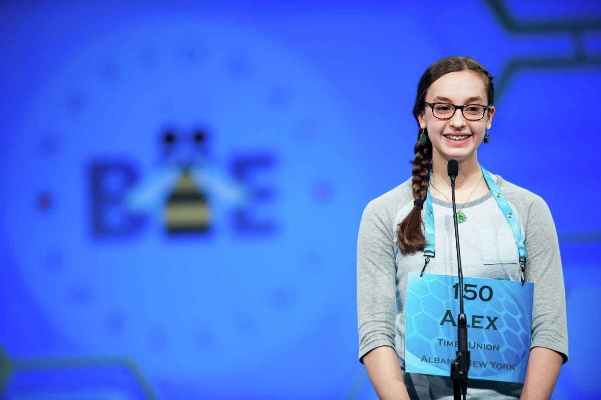 Alexandra Snyder, 13, of Linden Avenue Middle School in Red Hook, Dutchess County, participates in the 2016 Scripps National Spelling Bee on Wednesday, May 25, 2016 at the Gaylord National Resort and Convention Center in National Harbor, Maryland. (Pete Marovich)