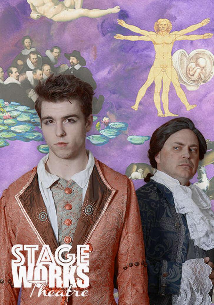 "Nick Mauldin (Mozart) and Joseph Blanchard (Antonio Salieri) star in Stageworks Theatre's performance of ""Amadeus."""