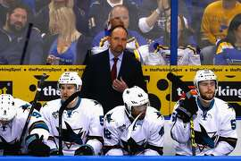 ST LOUIS, MO - MAY 15:  Head Coach Peter DeBoer of the San Jose Sharks looks on during the first period against the St. Louis Blues in Game One of the Western Conference Final during the 2016 NHL Stanley Cup Playoffs at Scottrade Center on May 15, 2016 in St Louis, Missouri.  (Photo by Jamie Squire/Getty Images)